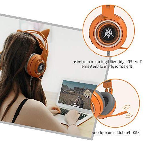 SOMIC G951orange with Work PC, 7.1 Virtual Cat Ear Headphones Lightweight Self-Adjusting Over Headphones Girlfriend