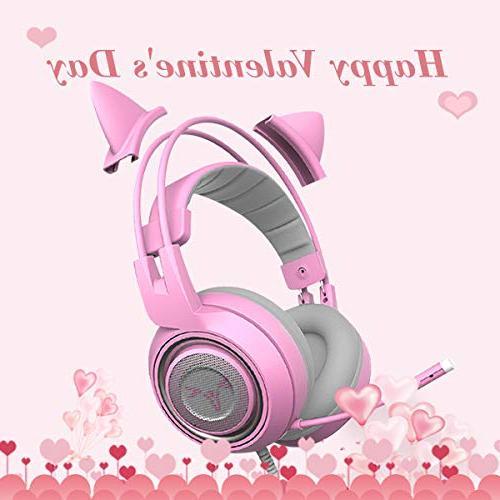 SOMIC Pink Headset PS4, Mobile Detachable Headphones Lightweight Over Ear Headphones Women