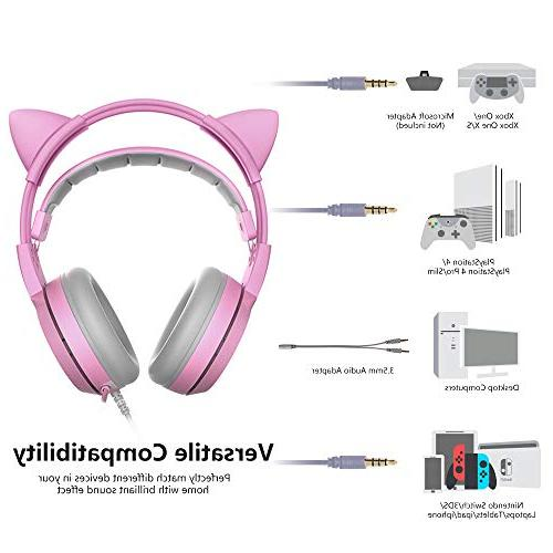 SOMIC G951s Pink Headset Mic for PS4, One, PC, Mobile 3.5MM Detachable Ear Headphones Lightweight Self-Adjusting Over Headphones for