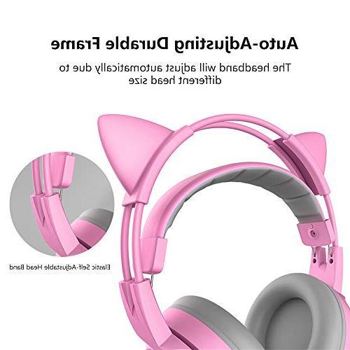 SOMIC Pink Gaming Mobile 3.5MM Detachable Lightweight Headphones for Women