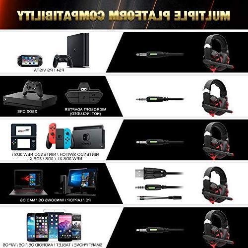 RUNMUS Gaming Xbox Surround Sound PS4 Mic LED Light, Xbox Controller, Switch