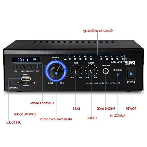 Home System 2x120W Channel Theater Receiver Box, w/ USB, LED, 12V Adapter - For - PCAU46A
