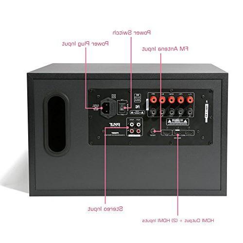 5.1 System 300W Wireless Surround Sound Theater Audio Receiver Box Built-in 5 Remote, -