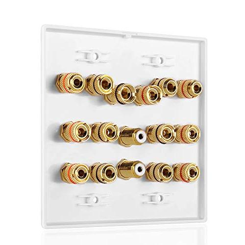 TNP Wall Outlet - Speaker Audio Distribution Panel Gold Copper Banana Connector Jack