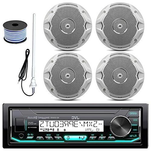 JVC KDX33MBS USB Bluetooth Marine Radio, JBL MS6510 150W 6.5