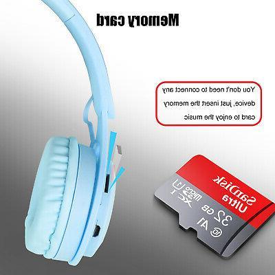 Kid Girl 5.0 Headphone Over Ear Wireless HiFi Earphones