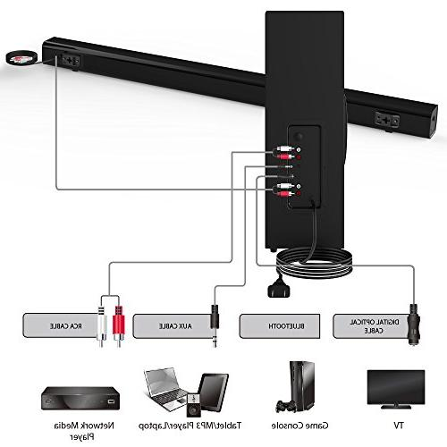 Sound with Meidong Wired Bars Surround Channel 72 Speaker, Wall Mountable, Remote Control】