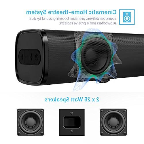 Sound Wired and Wireless Audio Speakers 29.5-Inches 2.0 Channel Theatre Sound System with 50 Input Modes