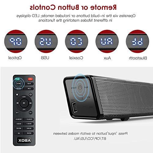 Sound Bar with ABOX Soundbar 34 120W 2.1 Channel Speaker, Wired Bluetooth Bars, Sound, Control,