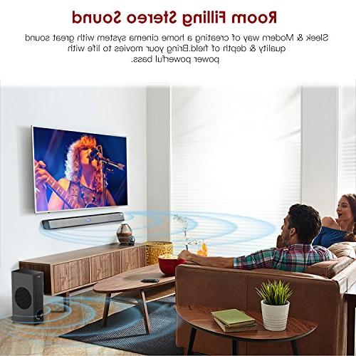 Sound Bar ABOX Soundbar for TV 34 Inch 120W Channel Speaker, Wireless Wired Bluetooth Bars, Sound, Remote Control, Mountable