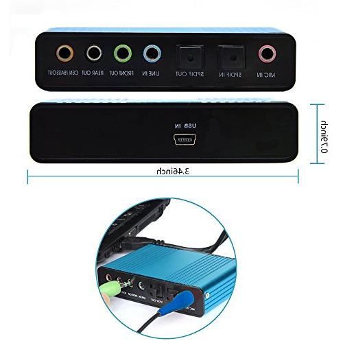 Sound Card,Ebetter External Sound Card 6 Channel 5.1 Adapter Audio S/PDIF Audio Sound Card Adapter for Laptop Recording Compatible