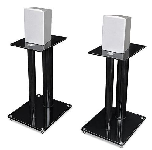 Mount-It! Book Shelf Sound Premium Dual Pillar Aluminum and Tempered