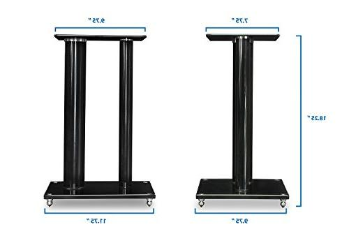Mount-It! Speaker Stands Book Shelf and Sound Speakers, and Tempered Glass,