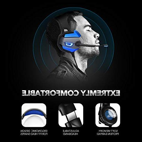 ONIKUMA Headset for PS4, Xbox PC, Enhanced 7.1 Surround Sound, Noise Cancelling Mic Headphones, Breathing Earmuffs, Mute & Volume Control Laptop