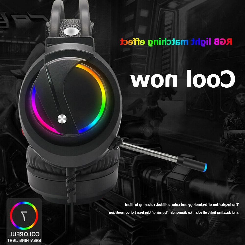 Surround Sound USB Wired Headsets Over-Ear RGB Gaming Headph