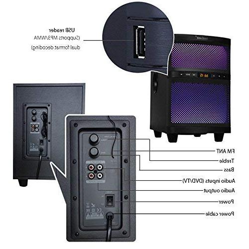 LuguLake 2.1 Channel 140 watt TV Sound Bar System, Home Theater Speaker 36 Soundbar w/subwoofer-OPT, AUX, Connection