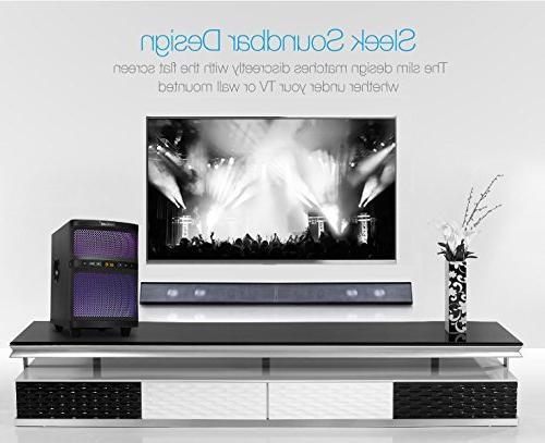 LuguLake Channel watt Sound Bar System, Home Speaker 36 Inch w/subwoofer-OPT, COA, Connection
