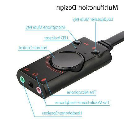 USB External Card Audio Adapter Earphone Jack