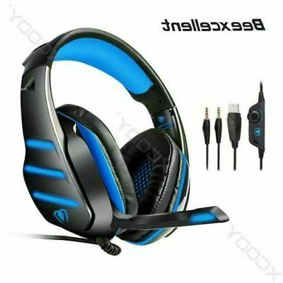 wired surround sound gaming headset with mic