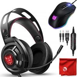 ONIKUMA M190 RGB LED Gaming Headset + 8000DPI Mouse for PC,