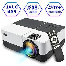 Video Projector with HD 1080P, GOXMGO 2200 Lumens LED Mini P