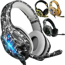 RGB LED Stereo Surround Gaming Headset Adjustable Mic Headph