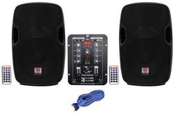 """Rockville BPA10 500 Watt 8"""" Powered Speakers+2-Channel Blue"""