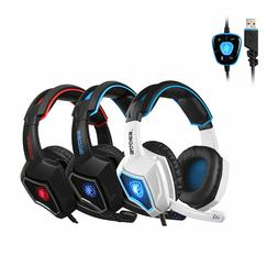 Sades Spirit Wolf 7.1 Surround Sound USB Gaming Headphones H