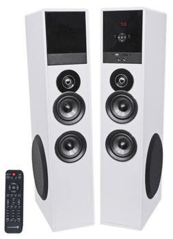 """Rockville TM80W White Powered Home Theatre Tower Speakers 8"""""""