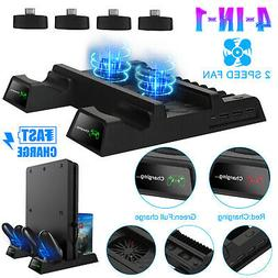 For PS4 Pro/Slim Vertical Stand + 2 Cooling Fan Controller C