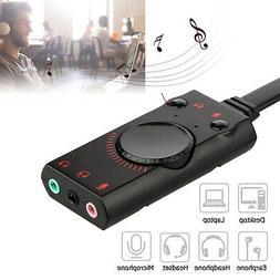 USB External Surround Sound Card Audio Adapter 3.5mm Earphon