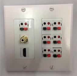 CERTICABLE WHITE DOUBLE GANG WALL PLATE SURROUND SOUND 7- PU